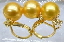 Huge AAA 16mm south sea golden sheell pearl earrings Pendant SET 14K solid gold