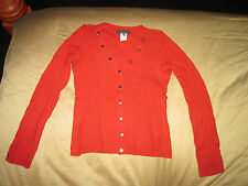 Authentic LES COPAINS woman brick red cardigan sweater size I 42 Made in Italy