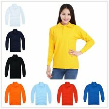 New Mens/Womens Casual Long Sleeve Polo Shirt Basic Tee Blouse T-Shirt  S-XXXL