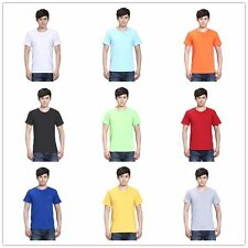 New Men's Tops Tee Shirt Slim Fit Short Sleeve Solid Color Casual T-Shirt