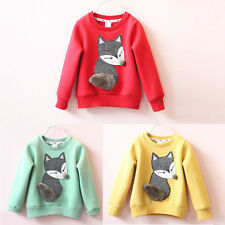 Toddler Kid Baby Boys Girls Cotton Tops T-Shirt Long Sleeve Fox Print Tee Blouse