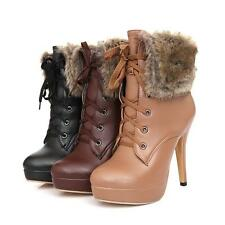 New Winter Womens Fur Trim Lace Up High Heels Furry Party date Ankle boots