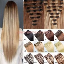 Mega Long Clip in on Hair Extensions 7Pcs Full Head As Human Hair Straight Curly