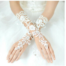White Bridal Sexy Charm Lace Flower Rhinestones Fingerless Gloves Wedding Party
