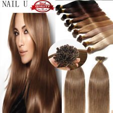 16''-20'' Straight Nail U Tip Remy Human Hair Extensions 100s US Stock