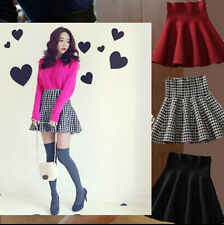Womens Ladies Stretch High Waist Plain Skater Flared Pleated Short Mini Skirt