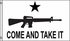 NEW COME AND TAKE IT 3 X 5 FOOT FLAG WHITE WITH BLACK GRAPHICS GUN RIGHTS