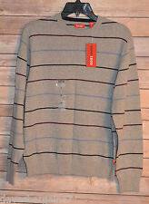 MENS IZOD FINE GAUGE ESSE CREWNECK GOLF SWEATER SIZE: M COLOR: LIGHT GREY STRIPE