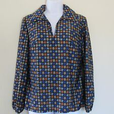 NOS 1970s vintage Qiana blue print pullover shirt, De Luxe, USA, sizes S/M