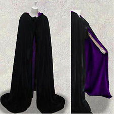 Velvet  Black Hooded Cloak  Wicca Medieval Halloween Wedding SCA Free Shipping