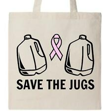 Inktastic Save The Jugs Tote Bag Boobs Breast Cancer Awareness Pink Ribbon Rack