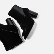 ZARA NEW AW16 VELVET BOW HIGH HEEL ANKLE BOOTS BLACK 3153/201