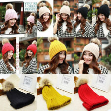 Braided Crochet Wool Knit Beanie Beret Ski Ball Cap Baggy Lady Winter Warm Hat P