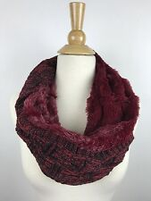 Chunky Cable Knit Twisted Infinity Hood Cowl Scarf with Faux Fur Black Red A