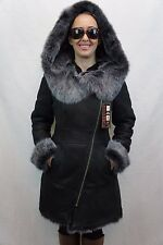 Black 100% Toscana Sheepskin Shearling Leather Lambskin Coat Jacket Hood XS-7XL