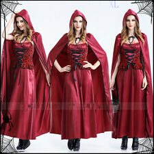 Little Red Riding Hood Full Set Fancy Dressing Cosplay Long Dress+Hoodie Cloak