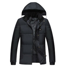 Mens Winter Warm Cotton Down Coat Hooded Zip Buttons Outwear Padded Jacket Black