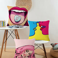 Comic Lady Character Print Linen Throw Cushion Cover Pillow Case Home Sofa Decor