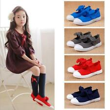 Soft Casual Mary Jane Flats Canvas Shoes Plimsolls for Kids Girls Boys