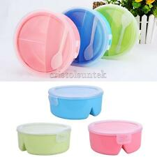 Poartable Microwave Lunch Box Round Bento Picnic Kitchen Food Container w/Spoon