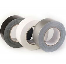 """DUCK DUCT WATERPROOF CLOTH GAFFA GAFFER  TAPE BLACK/WHITE/SILVER 2"" 48MM x 50M"""