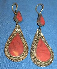 Earrings Teardrop Carnelian Malachite or Turquoise Afghan Kuchi Tribal Alpaca Si