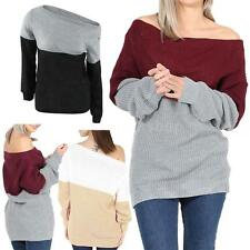Knitwear Sweater Long Sleeve Loose Women Pullover Off Shoulder Jumpers Tops V7T4