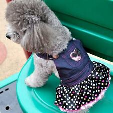 Dog Puppy Straps Dress Pet Apperal Clothes Jean Color With Heart XS-XL