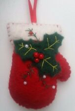 Felt Santa Gloves Mittens Ornament X-mas Tree Decoration Hand Embroidered