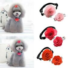 Pet Dog Cat Puppy Rose Flower Lace Bell Hair Pin Bows Neck Tie Collar