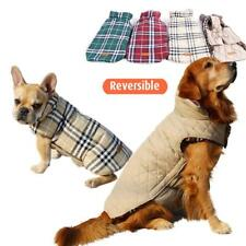 Pet Large Dog Reversible Plaid Jacket Coat Warm Clothes Vest Brown XS-XXXL
