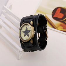 Hot Men Retro Punk Rock Artificial Leather Bracelet Cuff Wrist Watch Widen Band