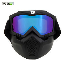 Skiing Cycling Detachable Modular Face Mask Shield Goggles for Motorcycle Black