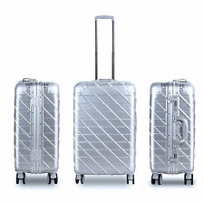 "20"" 24""  Travel Luggage ABS+PC Aluminum Trolley Hard Suitcase w/ TSA lock Silver"