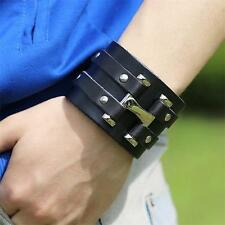 Newest Punk Cool Men Wide Genuine Leather Belt Bracelet Cuff Wristband Bangle