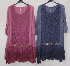 New Ladies Quirky Soft Knit Lagenlook Layering Tunic Dress OSFA