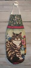 Brown Striped Tabby Cat Kitty Flowers Plastic Grocery Bag Rag Sock Holder HCF&D