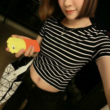 Sexy Women T Shirt Crop Tops Striped Short Sleeved O Neck Blouse Club Wear Top