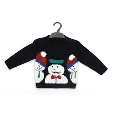 Ex Mothercare Boys Navy Snowman Christmas Xmas Jumper Age 3/4 Years NEW