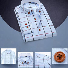 Men Grid Long Sleeve Slim Fit T Shirt Plaids Checks Casual Shirts Asia Size