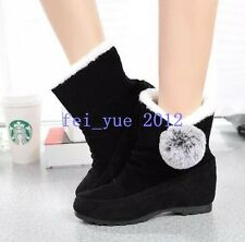 Korean Womens Winter POMPOM Wedge Heels Faux Suede Fur Lining Ankle Boots Size