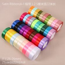 25 Yards 25mm Satin Ribbon Wedding Party Decoration Craft Sewing Many Colors