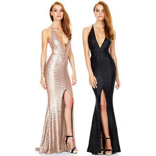 Women Sexy Deep V Strap Sequins Bodycon Evening Party Cocktail Long Split Dress