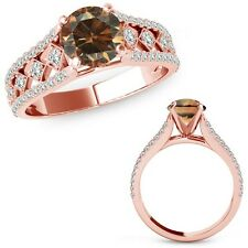 1 Ct Champagne Color Diamond Beautiful Solitaire Halo Ring Band 14K Rose Gold