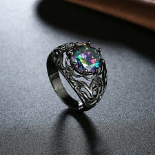 Unisex Jewelry Black Metal Ring Colorful Rhinestone Hollow Ring Punk Style