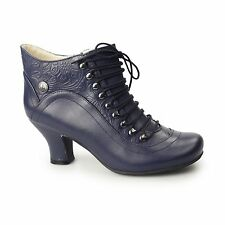 Hush Puppies VIVIANNA Ladies Womens Leather Patterned Lace-Up Zip Boots Navy