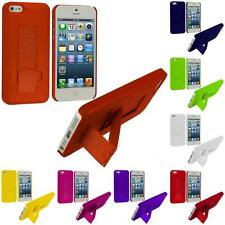 For iPhone 5 5G Color Hard Ultra Thin Grid Texture Rugged Case Cover with Stand