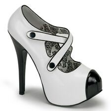 "Bordello TEEZE-23 White Black Patent Leather 5 ¾"" Heels  - Stiletto,Exotic,Shoes"
