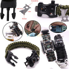 Outdoor Survival Paracord Bracelet Flint Bottle Opener Compass Whistle Gear Kits
