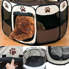 New Foldable Pet Dog Cat Exercise Fence Cage Soft Playpen Bed Kennel Tent Crate